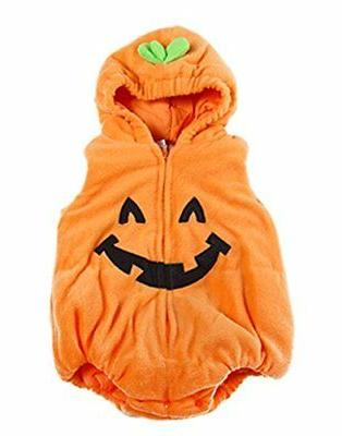 halloween kid fleece pumpkin costume comfy jumpsuit