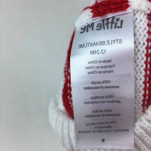 Little Me red/white striped knit winter hat New NWT