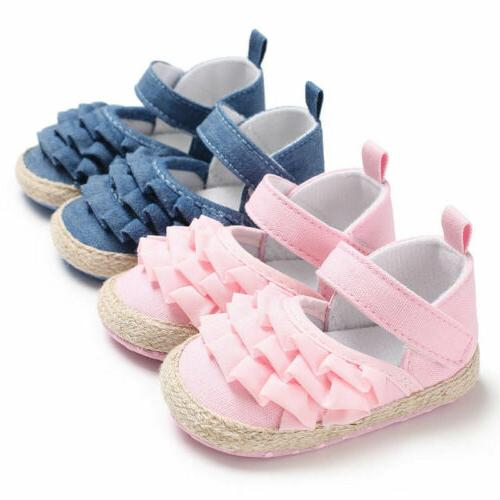 Hot Toddler Girl Crib Shoes Baby Bowknot Soft Sole Sneakers US