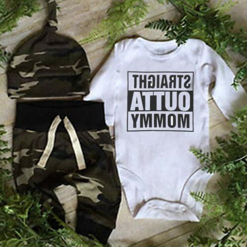 infant baby boy outta clothes camo romper