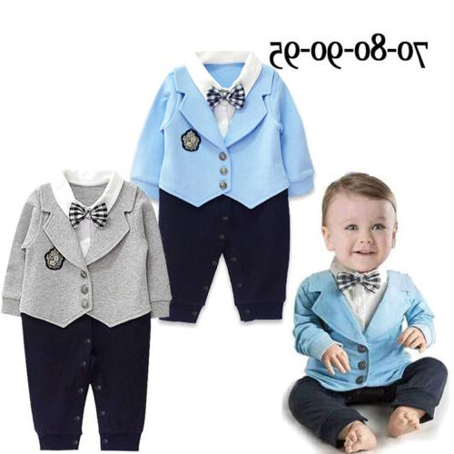 Infant Party Gentleman Clothes Jumpsuit Bodysuit Formal Outfit