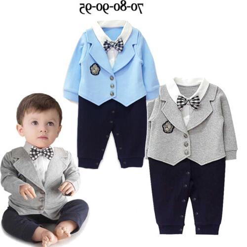 infant baby boy party gentleman clothes romper