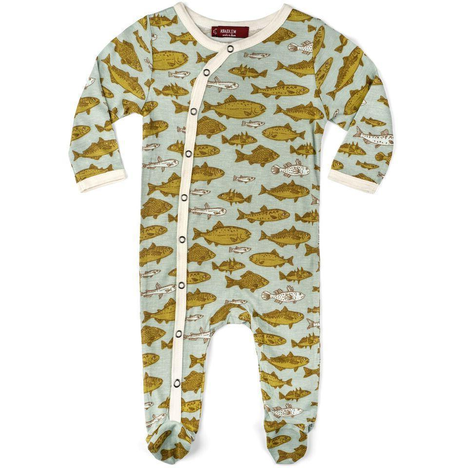 infant baby footed romper blue fish 12