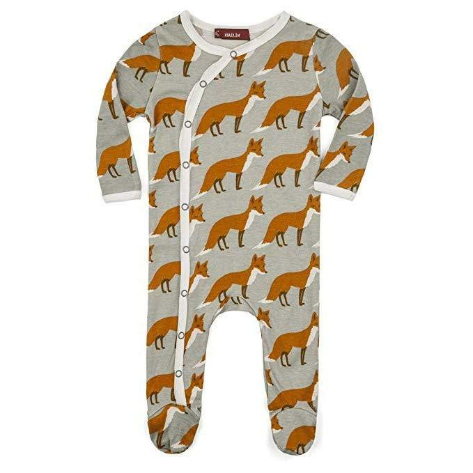 infant baby footed romper orange fox 9