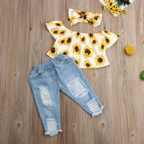 Infant Baby Girl Off Tops+Jeans 3PCS
