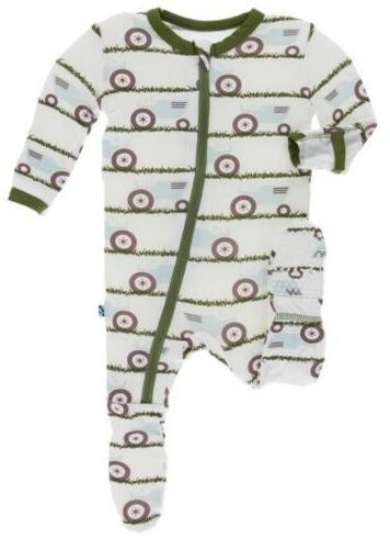 infant boy print coverall footie with zipper