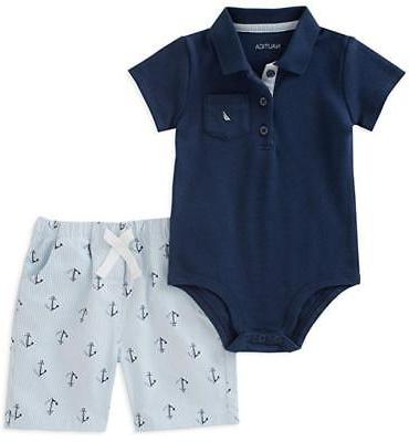 infant boys navy blue bodysuit and short