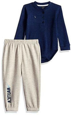 infant boys navy bodysuit and pant set