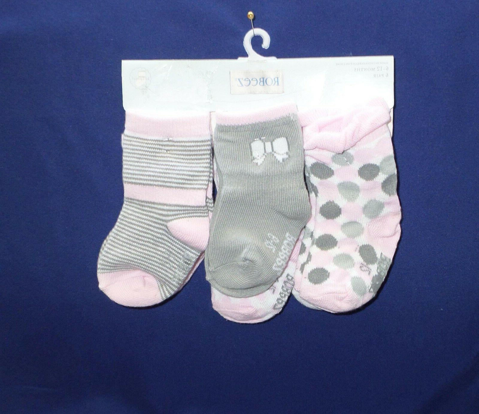 Robeez Infant Girl's 6 Pair Skid- Proof Socks Size 6-12 Mo