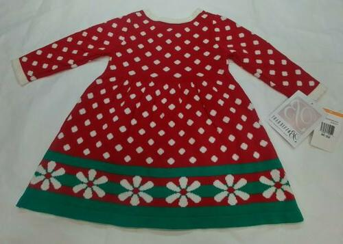 Bonnie Infant Sweater Dress Red Polka 12 months