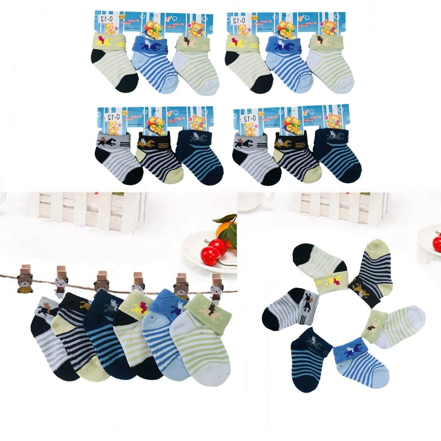 Lot 6 12 Pairs Multi Color Striped Baby Boy NewBorn Baby Sof