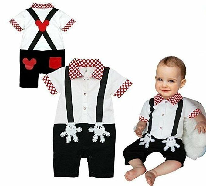 StylesILove Baby Boy Mickey Mouse Faux Suspender Costume Rom