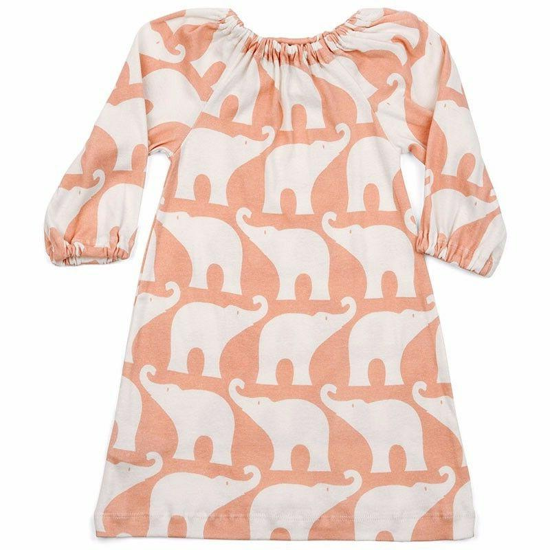 Milkbarn Organic peasant dress 12-18 month - rose elephant
