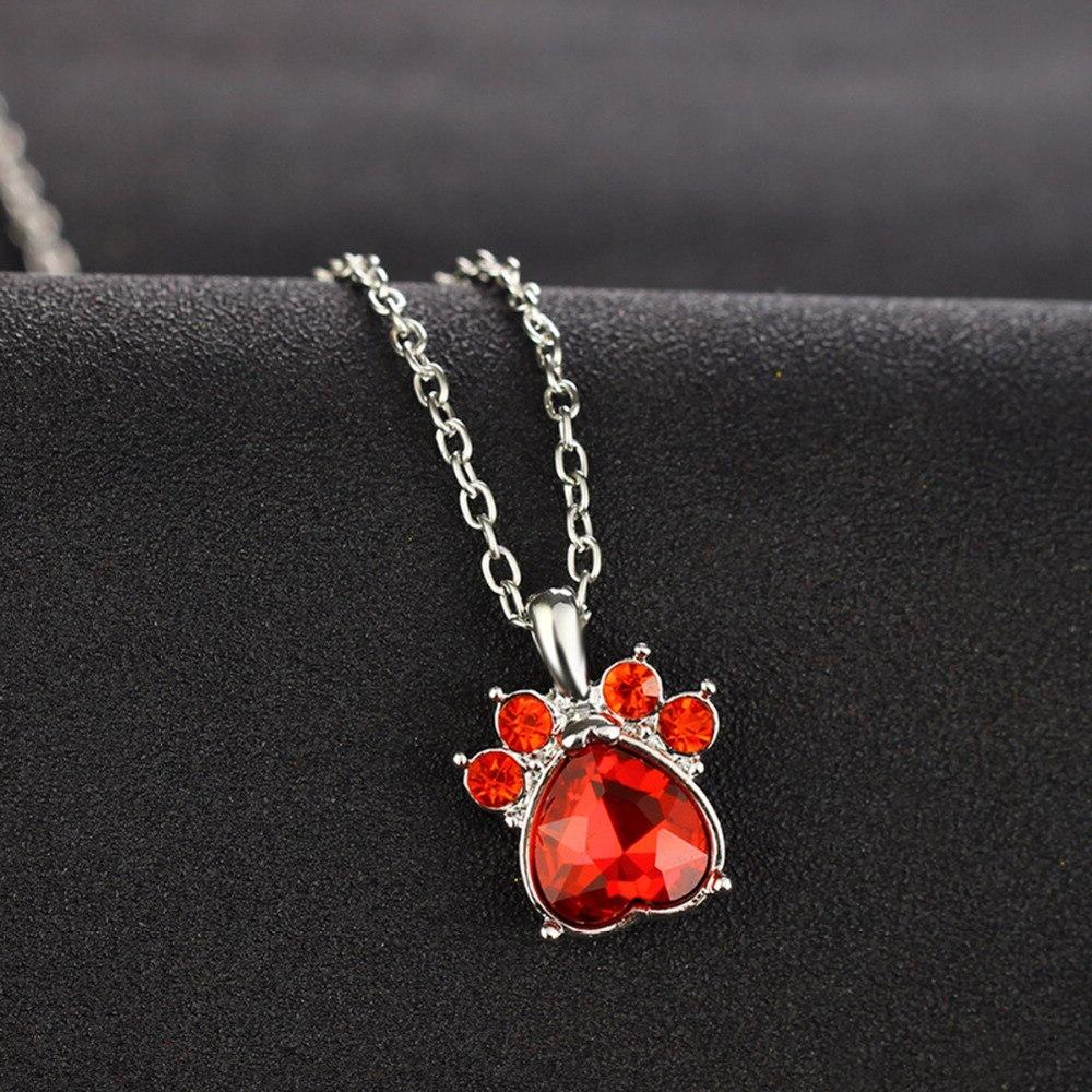 Multicolor Crystal Rhinestone Heart Stone Paw Women Necklaces Jewelry