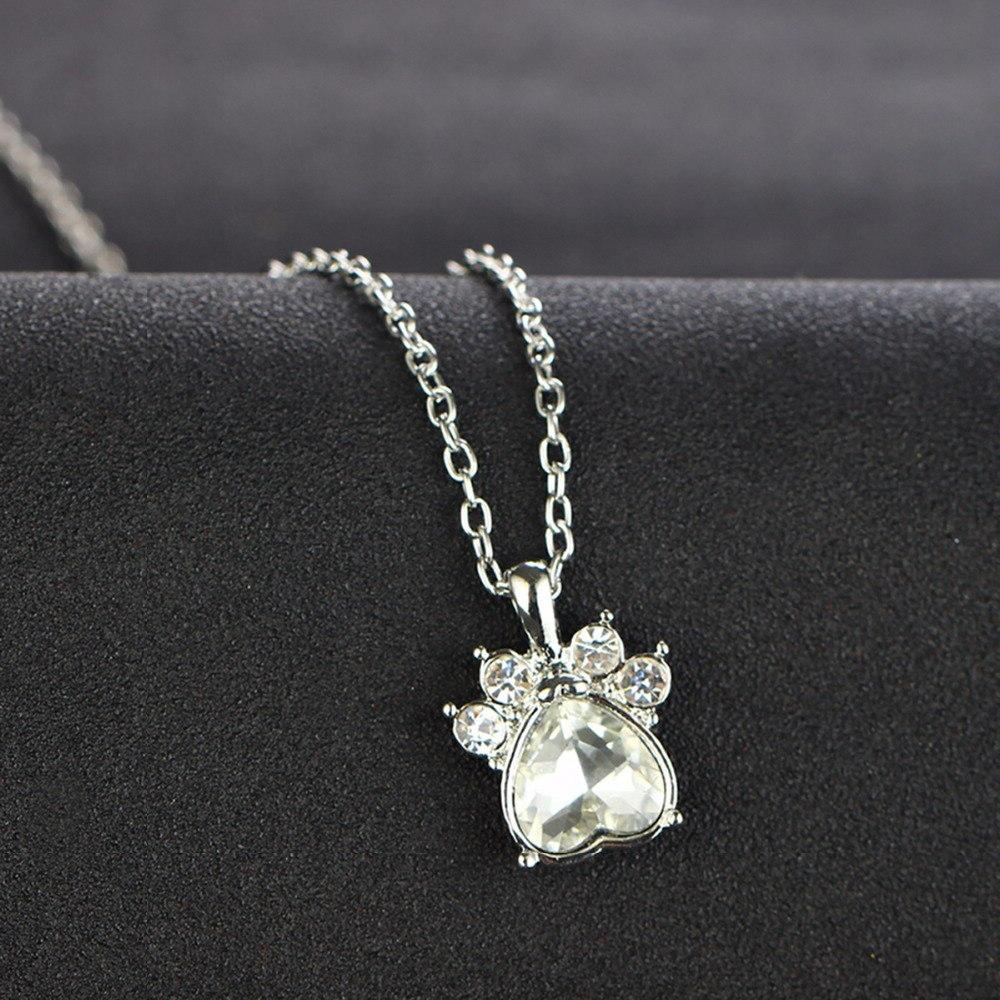 Multicolor Crystal Rhinestone Paw Chain Necklace Women <font><b>12</b></font> Necklaces Jewelry Gift
