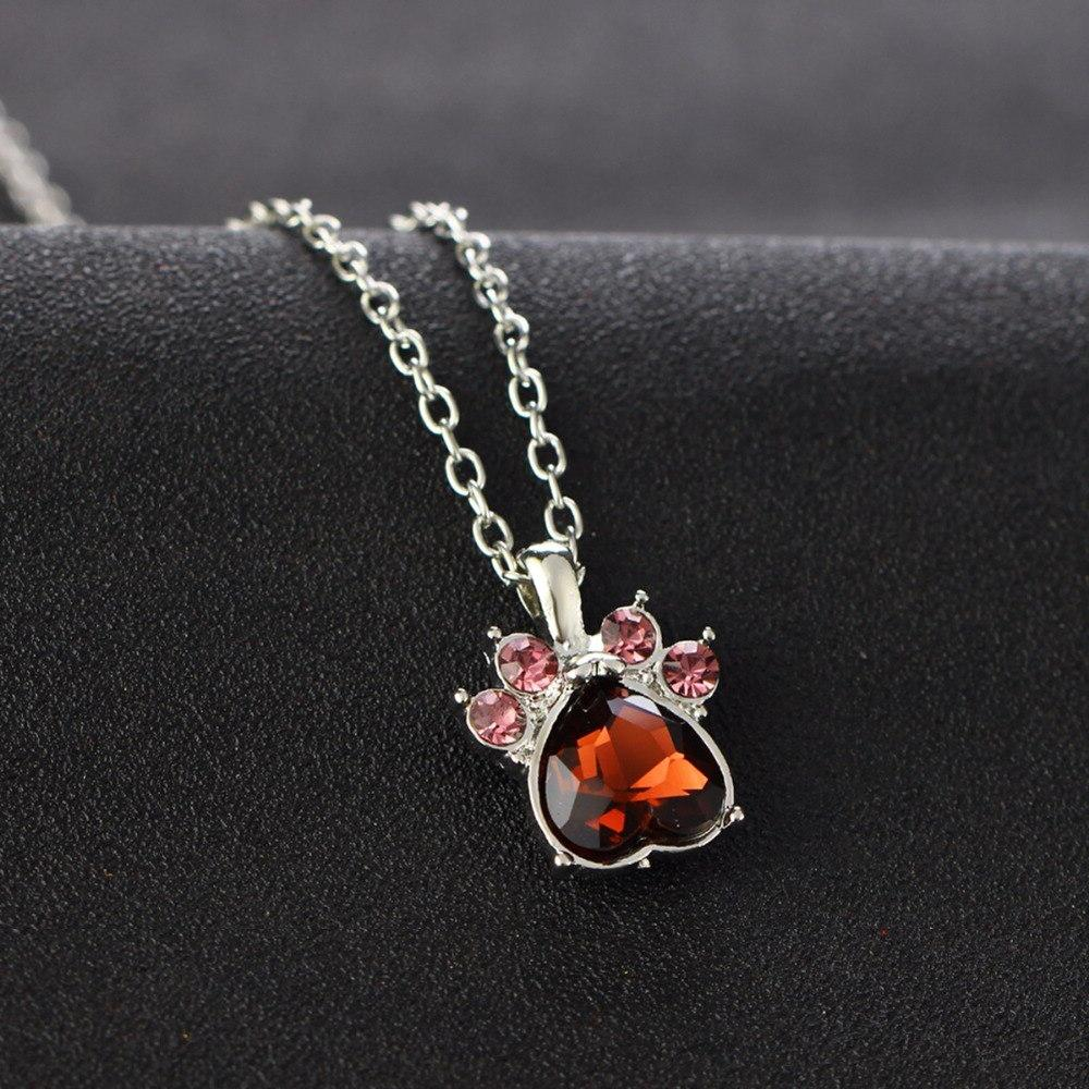 Multicolor Crystal Birth Heart Stone Dog Paw Claw Women Necklaces Jewelry Gift