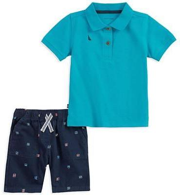 nautica infant boys turquoise polo 2pc short