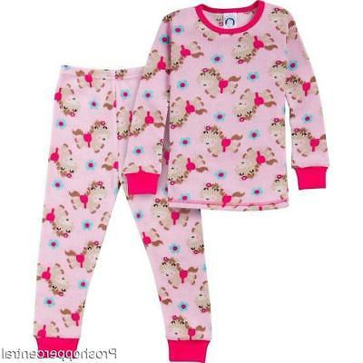 new 2 piece thermal pjs pink