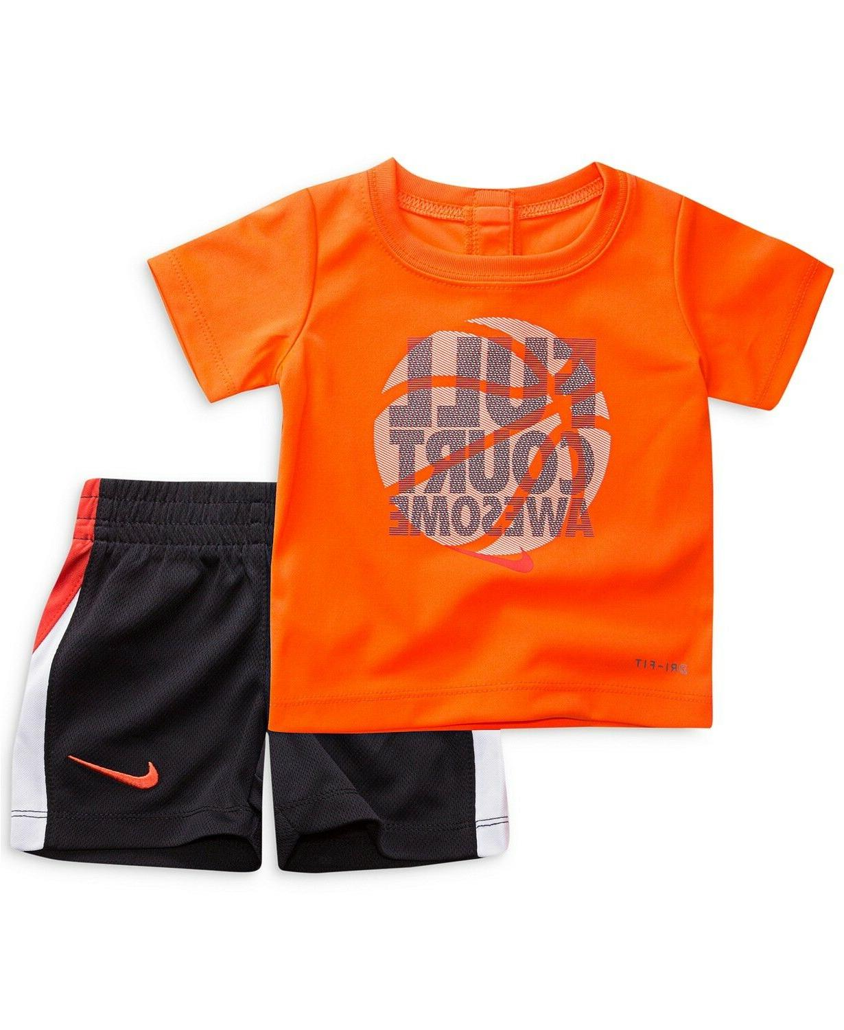 New Boys Swoosh Graphic Tee & Shorts and Color