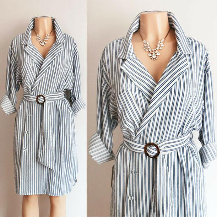 NEW Blue White Belted Wrap Button Shirt Dress