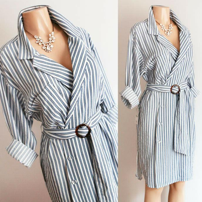 new blue white stripe belted wrap button