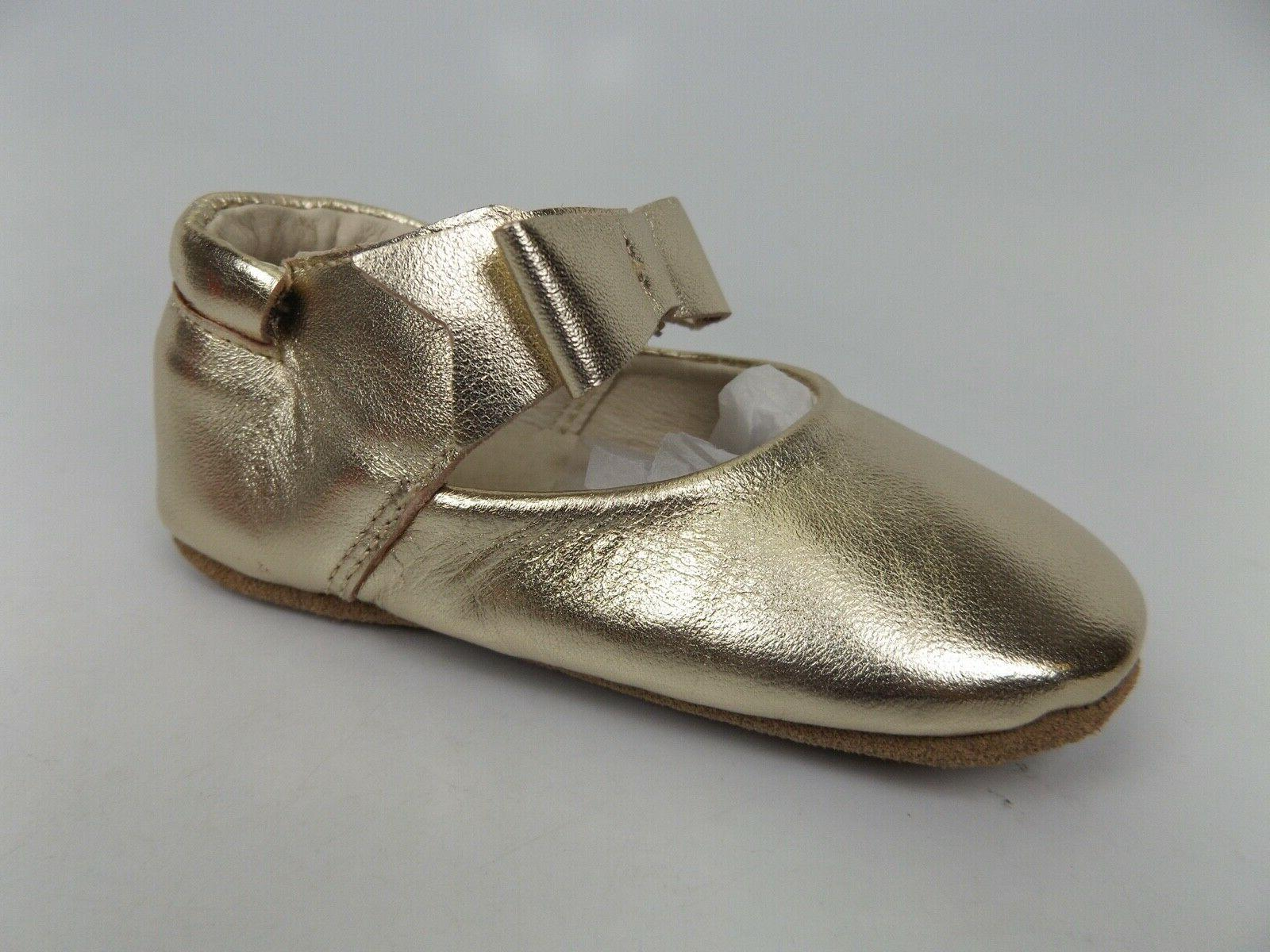 NEW! First Kicks Sophia Gold Soft Sole Leather Shoes SZ 12-18 Months