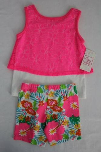 NEW Girls Set Size 12 Tank Shorts Outfit Pink