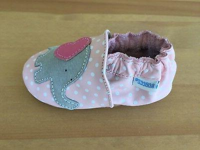 New Robeez Leather Pink Crib Shoes Little Peanut Size 12-18