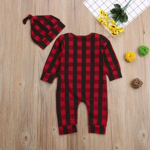 Newborn Baby Christmas Romper +Hat Clothes