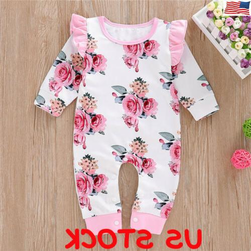 newborn baby girl floral cotton romper bodysuit