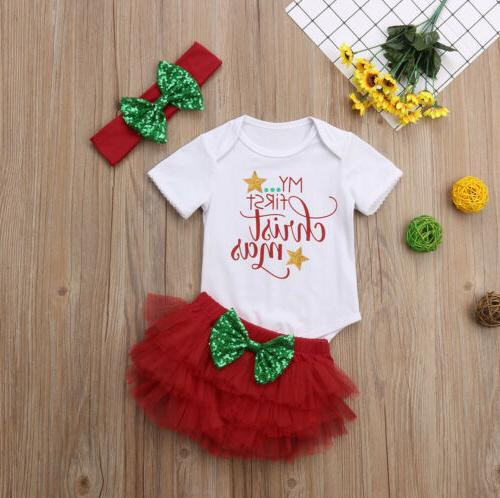 Newborn First Christmas Tops Pants Outfits