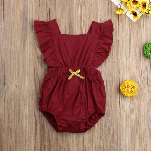 Newborn Girl Ruffle Solid Bodysuit Jumpsuit Outfits 0-24M USA