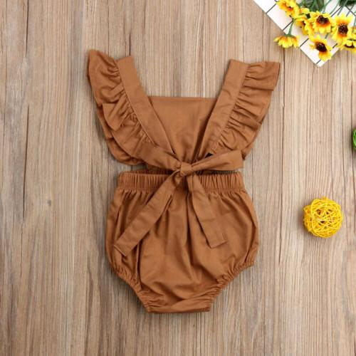 Newborn Baby Girl Solid Color Jumpsuit