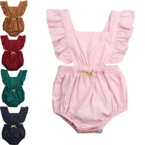 newborn baby girl ruffle solid color romper