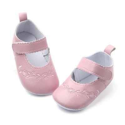 Newborn Girls Crib Pram Sole Anti Slip Walkers Sneaker KI