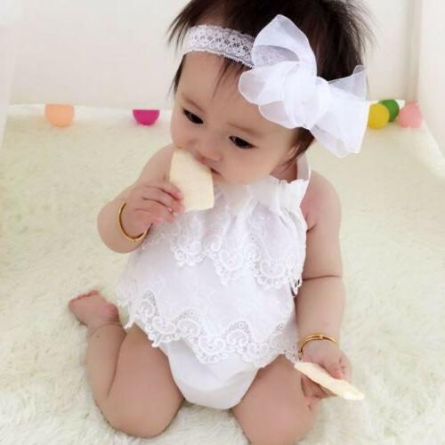 Canis Newborn Baby Lace Bodysuit Outfits Clothes
