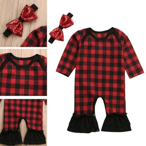 Newborn Baby Girls Outfits Ruffle Romper Jumpsuit Bodysuit+Headband Clothes