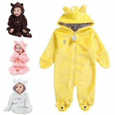 Newborn Baby Boy Girl Hooded Jumpsuit