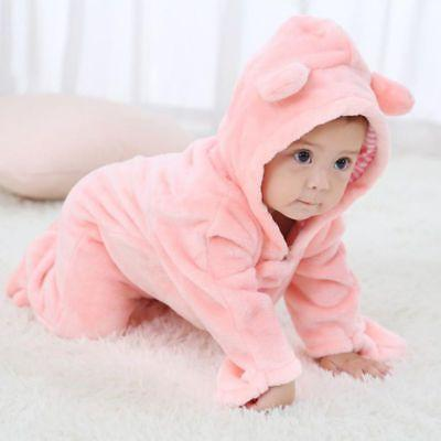 Newborn Boy Girl Hooded Jumpsuit Bodysuit