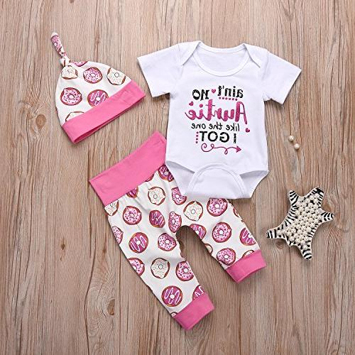 Younger Newborn Baby Letter Romper and Hats Outfit Short Sleeve
