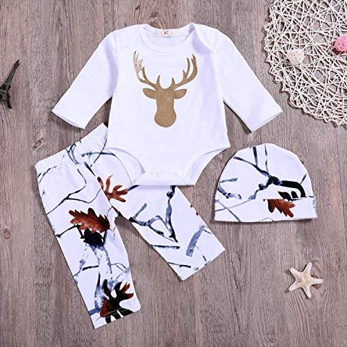 Younger Baby Boy Printed + Pants Hat 3Pcs