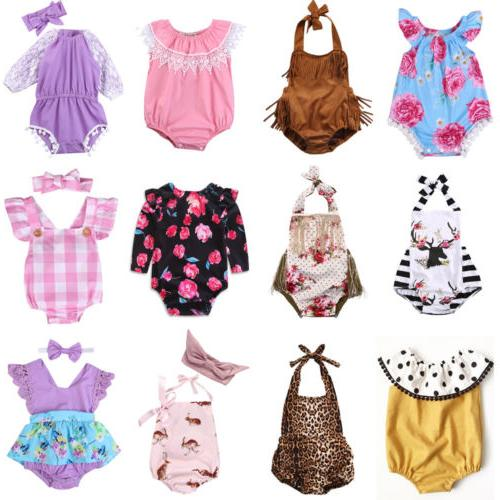 newborn infant baby girl floral romper bodysuit