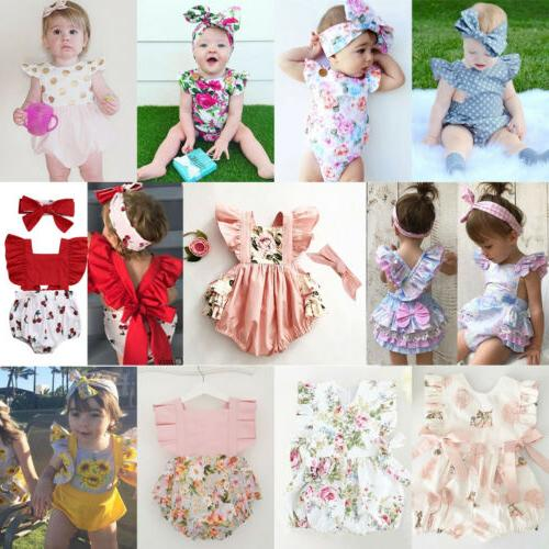 Newborn Infant Baby Flower Romper Outfit