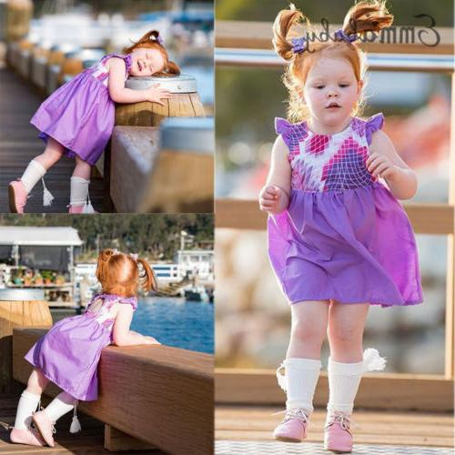 Emmababy Newborn Kid Baby Girl Summer Party Dress Sundress C