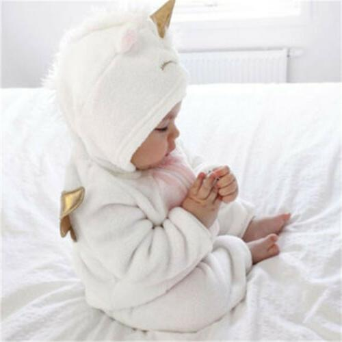 Newborn Baby Unicorn Flannel Romper Outfit Warm
