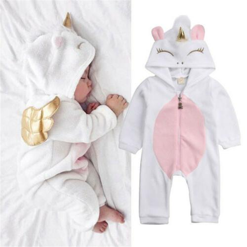 Newborn Kid Baby Unicorn Romper Outfit Warm Winter