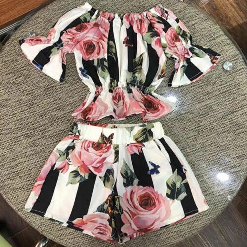 Canis Girls Floral Tops Shorts Clothes
