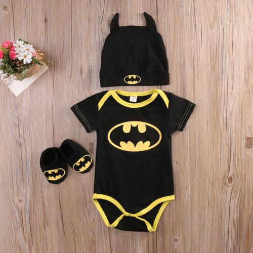 Newborn Toddler Batman Romper Shoes 3Pcs Clothes Costume USA