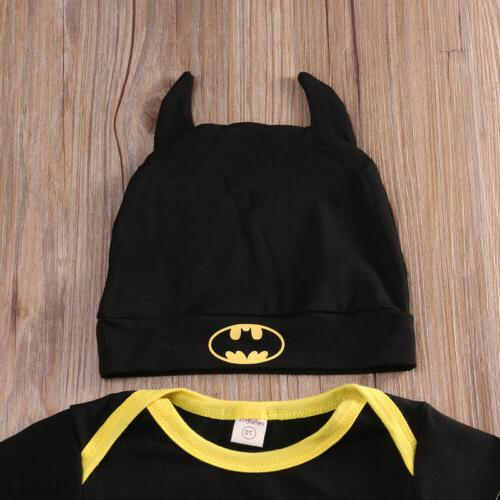 Newborn Boy Batman Shoes Hat 3Pcs Clothes Outfit USA