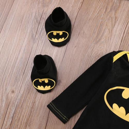 Newborn Toddler Baby Batman Romper 3Pcs USA